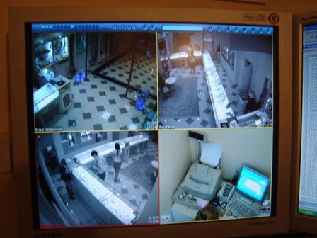 Монитор видеосервера. Отображение 4-х камер системы видеонаблюдения